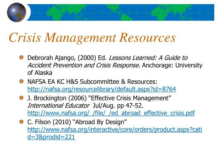 Crisis Management Resources