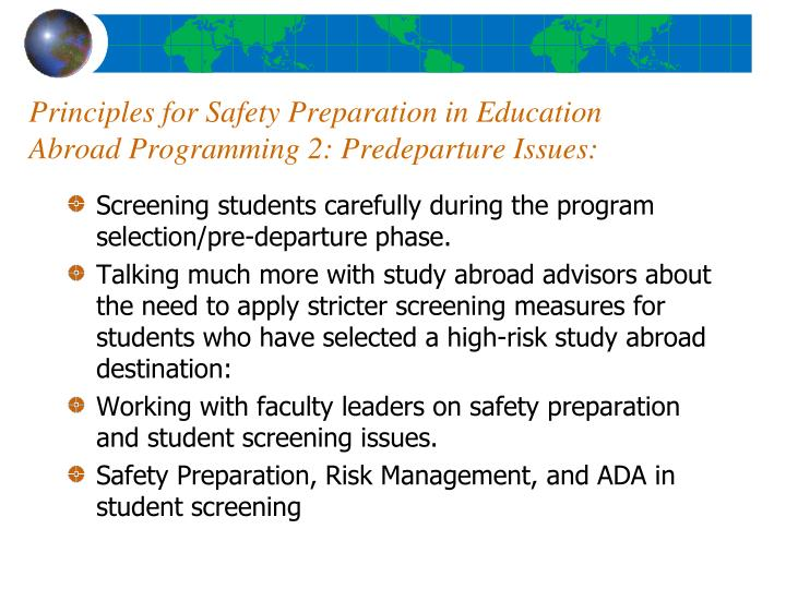 Principles for Safety Preparation in Education Abroad Programming 2: Predeparture Issues:
