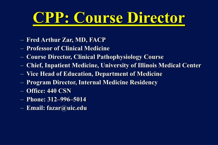 CPP: Course Director
