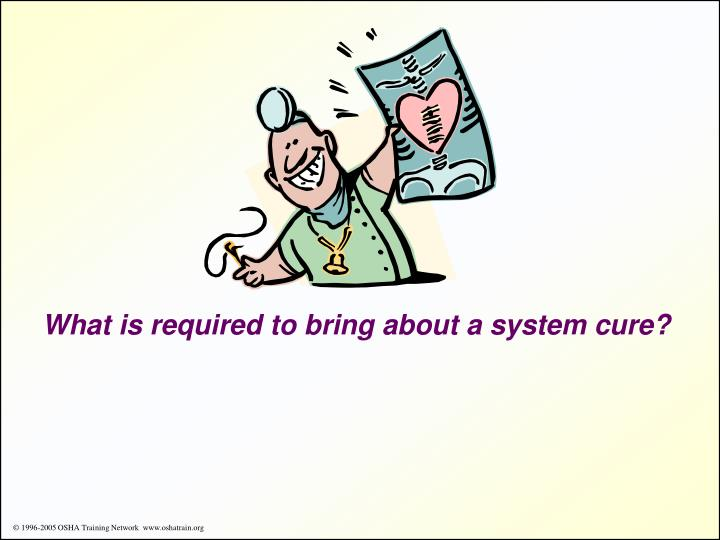 What is required to bring about a system cure?