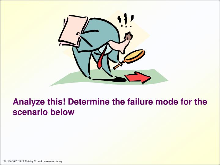 Analyze this! Determine the failure mode for the scenario below