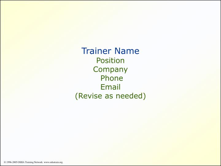 Trainer Name