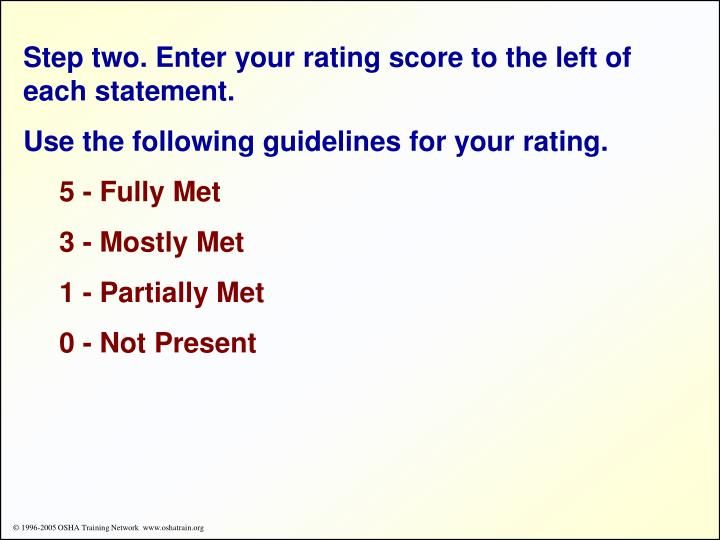 Step two. Enter your rating score to the left of each statement.