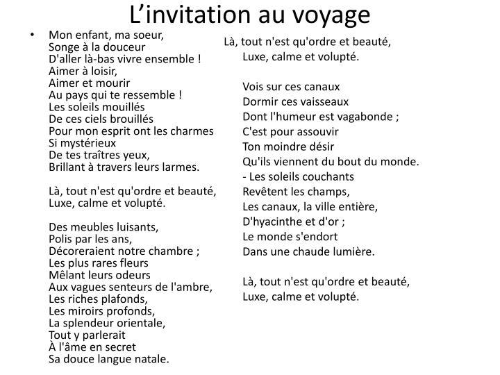 Ppt linvitation au voyage powerpoint presentation id2943337 linvitation au voyage stopboris Gallery