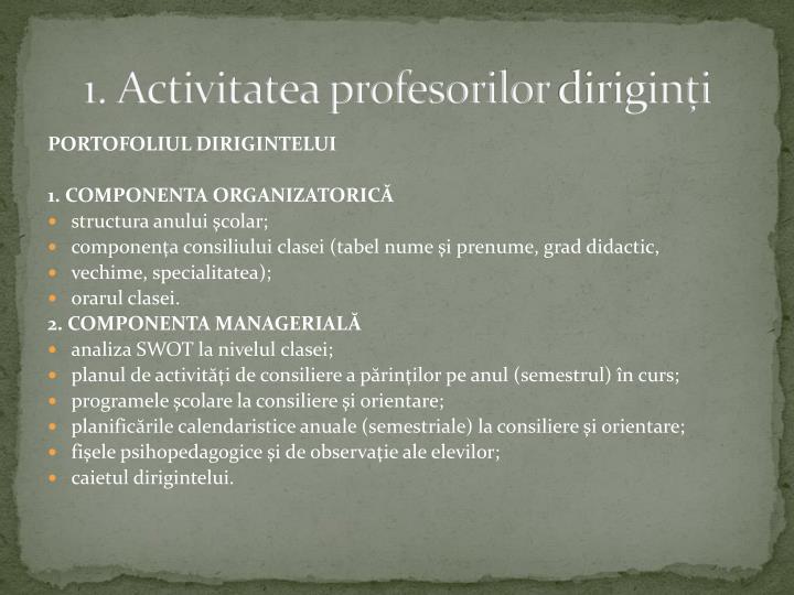 1 activitatea profesorilor dirigin i
