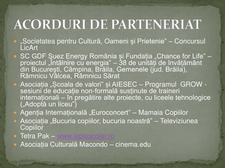ACORDURI DE PARTENERIAT