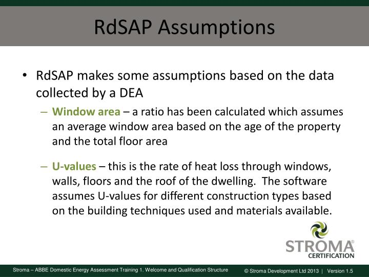 RdSAP Assumptions