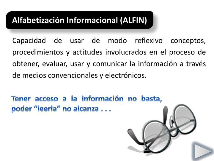 Alfabetización Informacional (ALFIN)