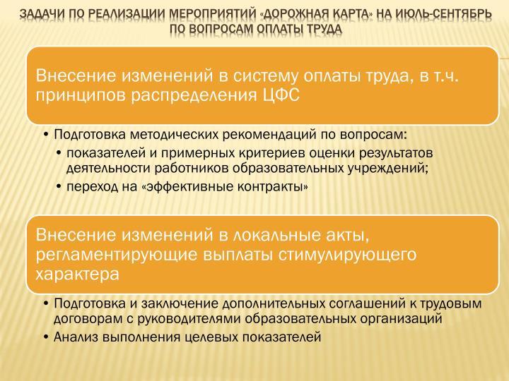 Задачи по реализации мероприятий «дорожная карта» на июль-сентябрь по вопросам оплаты труда
