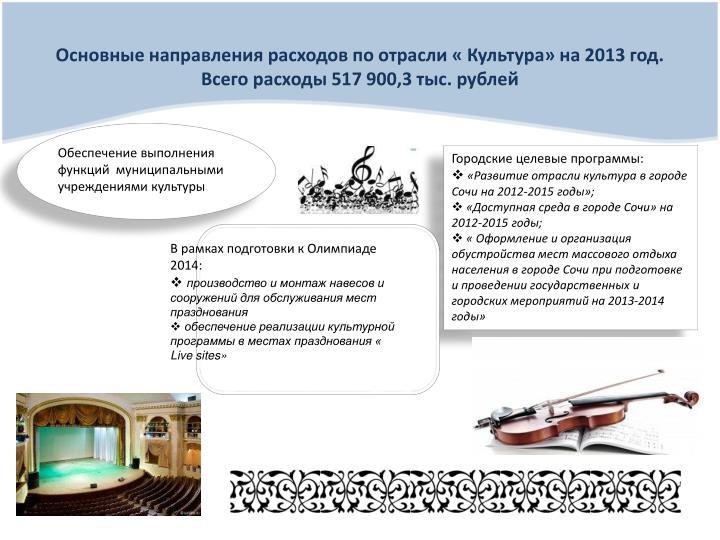 Основные направления расходов по отрасли « Культура» на 2013 год.