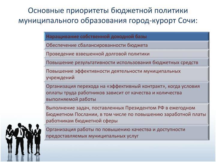 Основные приоритеты бюджетной политики муниципального образования город-курорт Сочи: