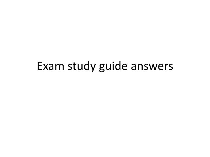 exam study guide answers n.