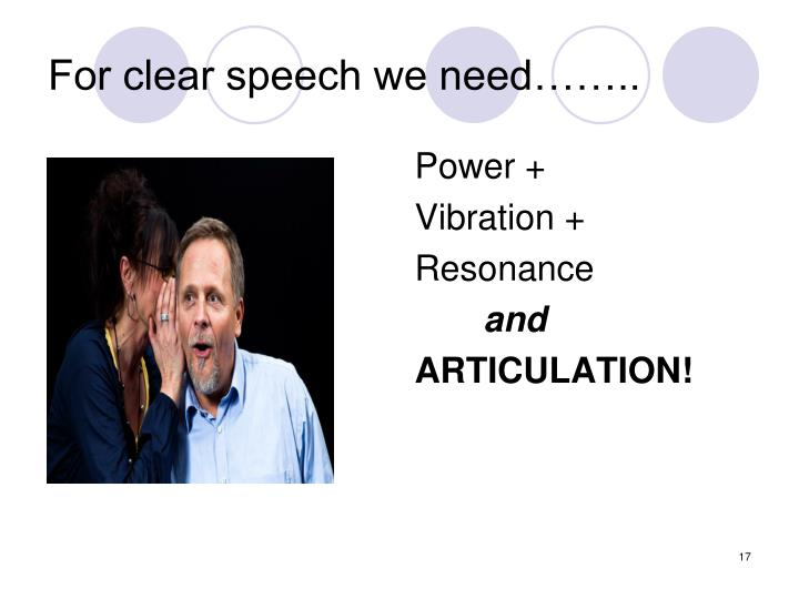 For clear speech we need……..