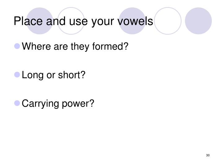 Place and use your vowels