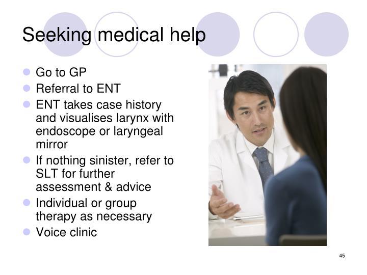 Seeking medical help
