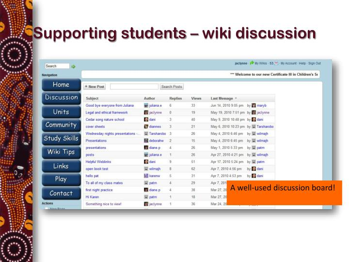 Supporting students wiki discussion