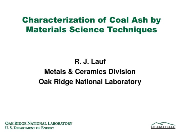 characterization of coal ash by materials science techniques n.