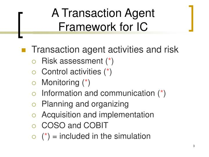 A transaction agent framework for ic