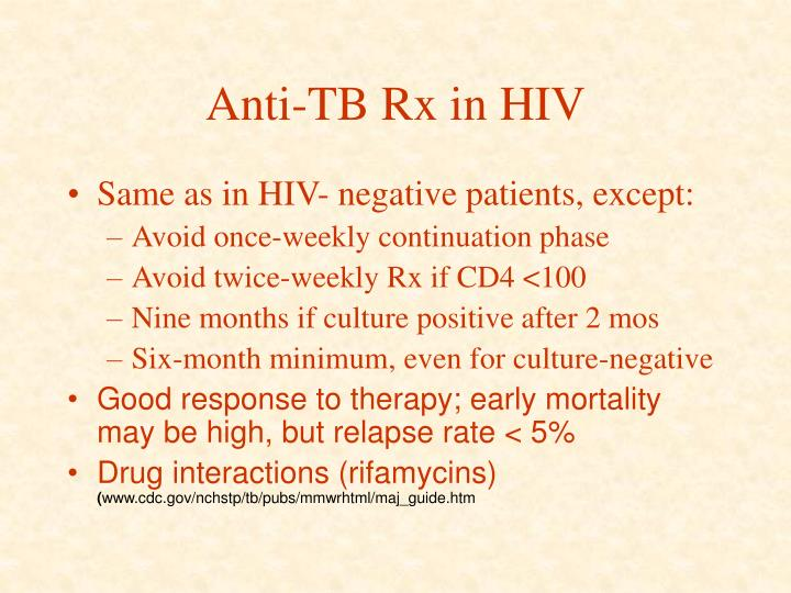 Anti-TB Rx in HIV