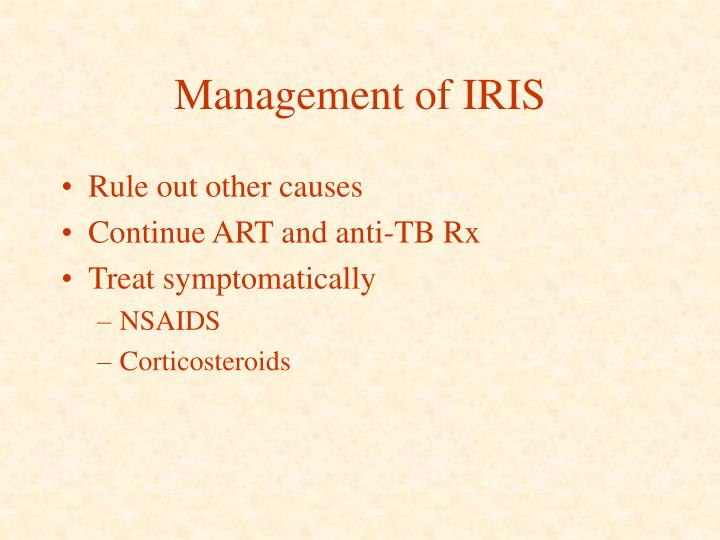 Management of IRIS