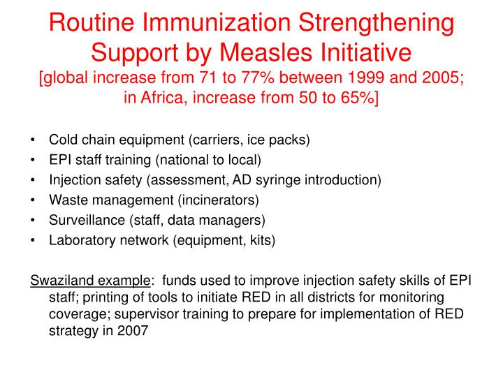 Routine Immunization Strengthening Support by Measles Initiative