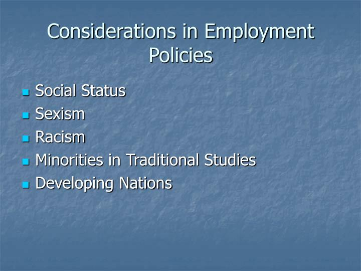 Considerations in Employment Policies