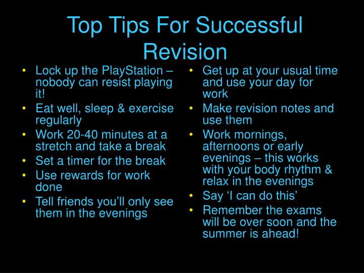 top tips for successful revision n.