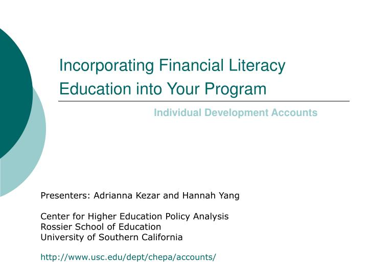 Incorporating financial literacy education into your program