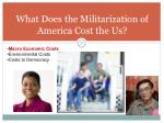 what does the militarization of america cost the us