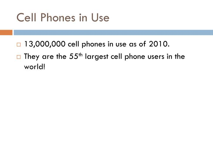 Cell phones in use