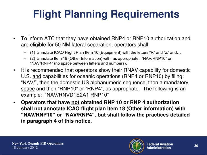 Flight Planning Requirements
