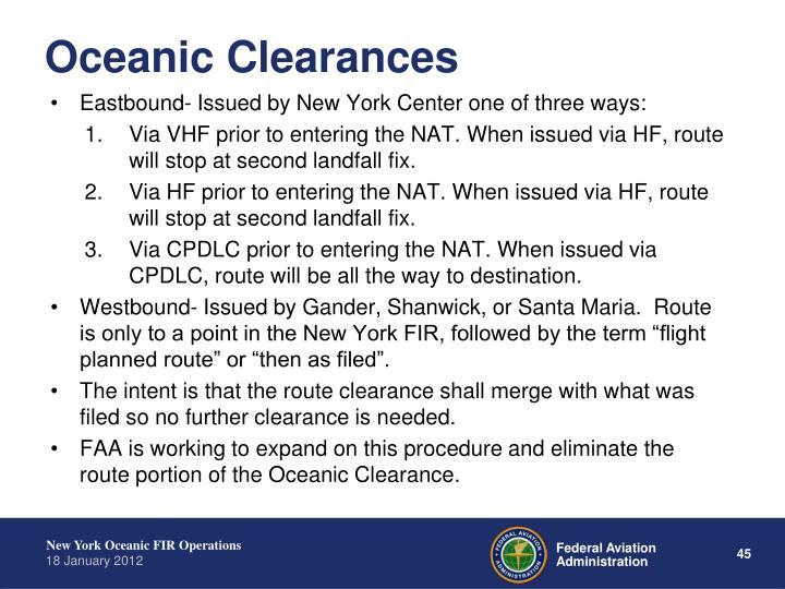 Oceanic Clearances