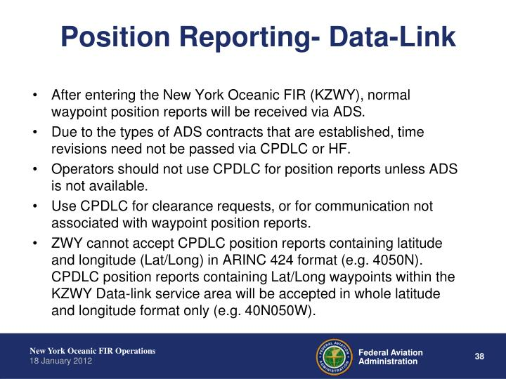 Position Reporting- Data-Link