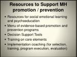 resources to support mh promotion prevention