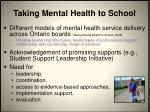 taking mental health to school