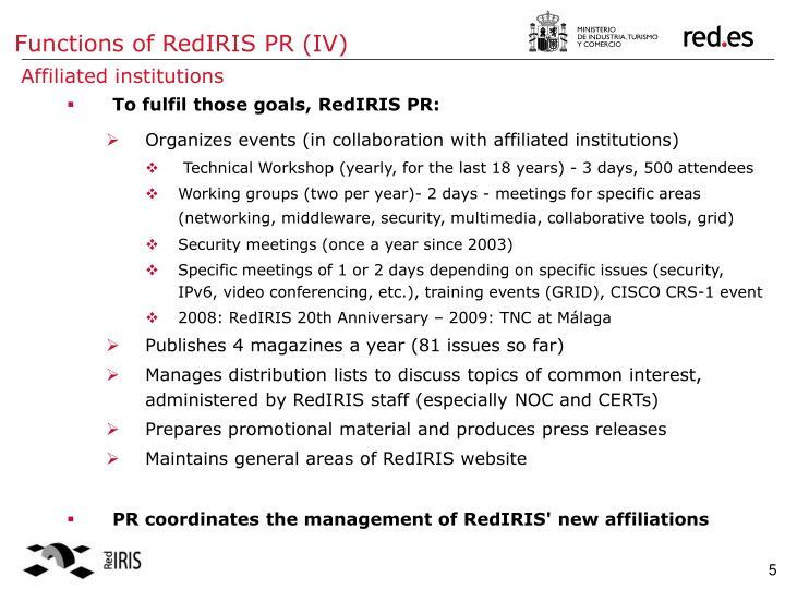 Functions of RedIRIS PR (IV)