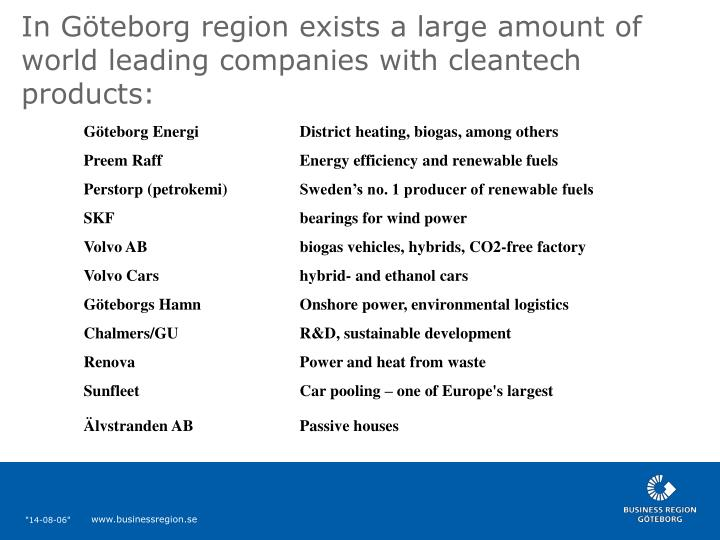 In Göteborg region exists a large amount of world leading companies with cleantech products: