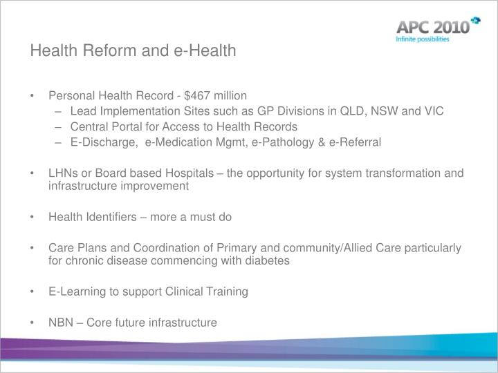Health Reform and e-Health