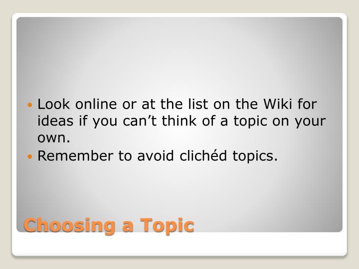 Discursive topics list for an essay
