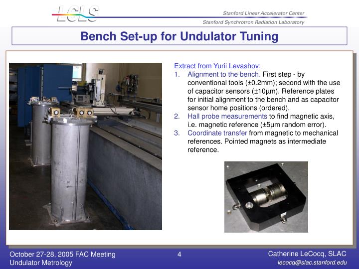 Bench Set-up for Undulator Tuning