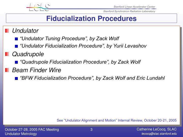 Fiducialization procedures