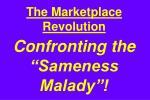 the marketplace revolution confronting the sameness malady