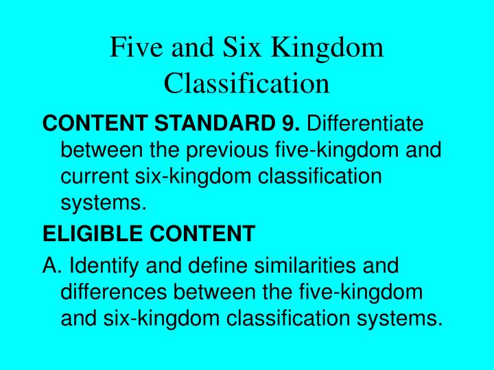 Five and six kingdom classification