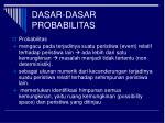dasar dasar probabilitas