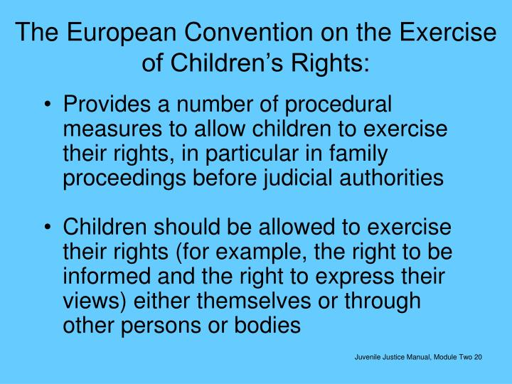 The European Convention on the Exercise of Children's Rights: