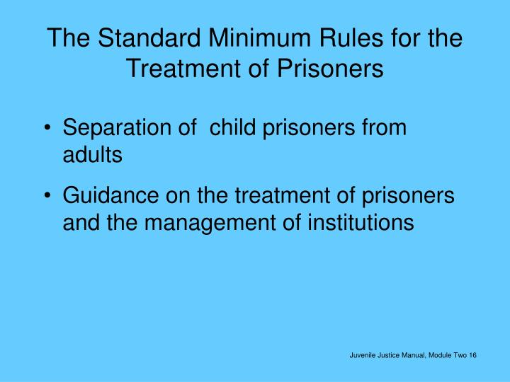 The Standard Minimum Rules for the Treatment of Prisoners