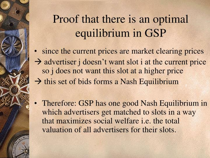 Proof that there is an optimal equilibrium in GSP