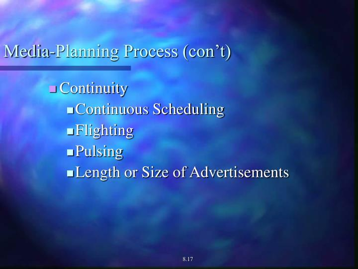 Media-Planning Process (con't)