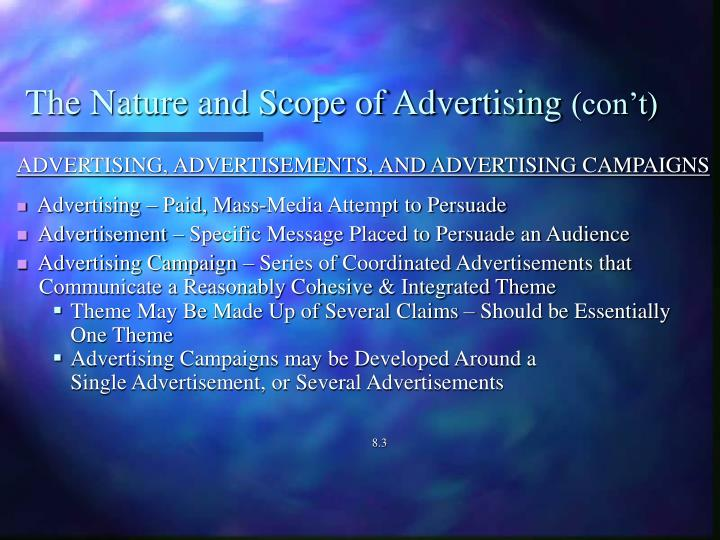 The nature and scope of advertising con t