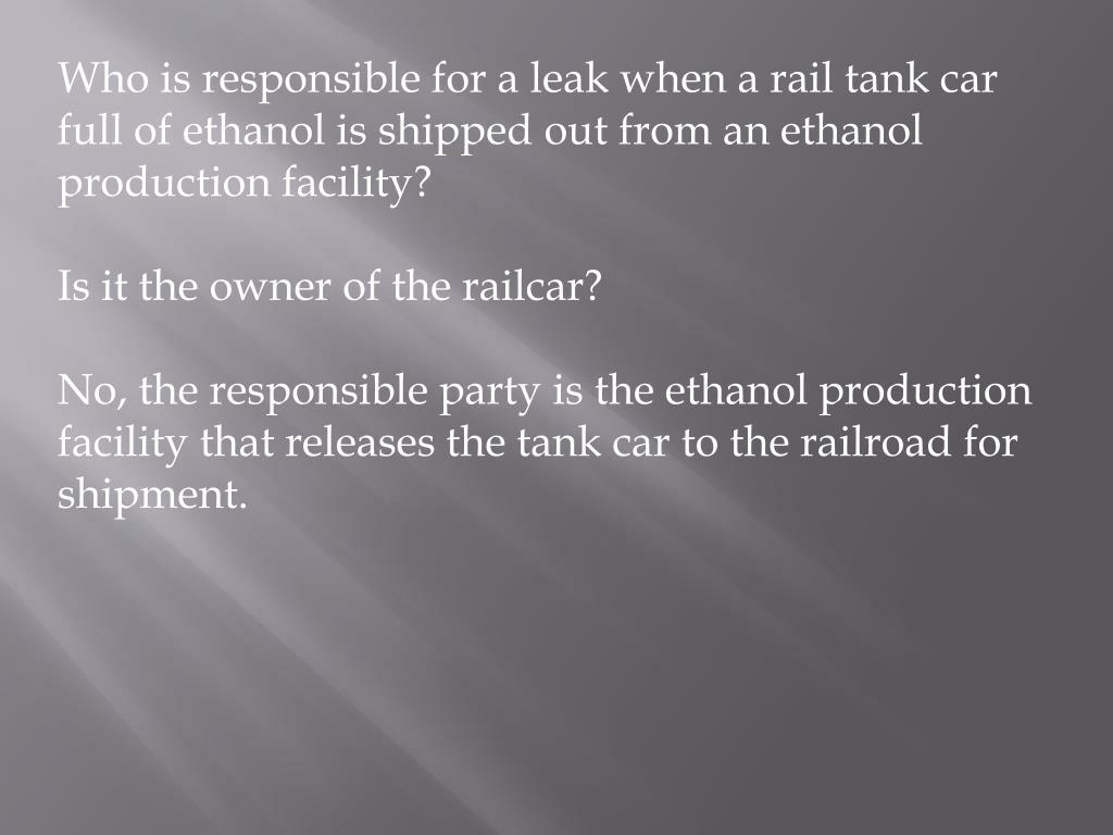 PPT - Ethanol Transportation and Storage Hazards PowerPoint